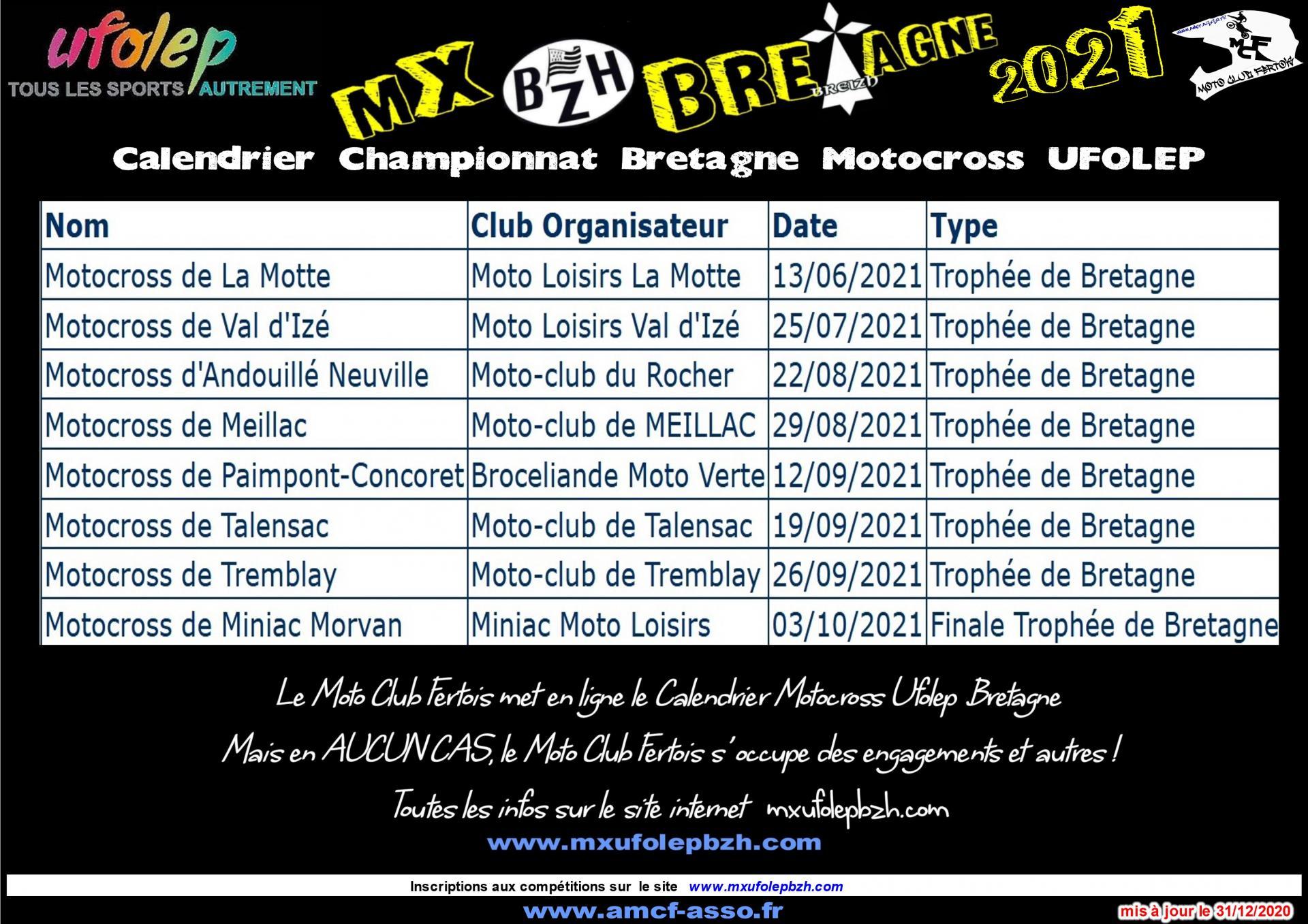 Calendrier UFOLEP Motocross Bretagne 2021