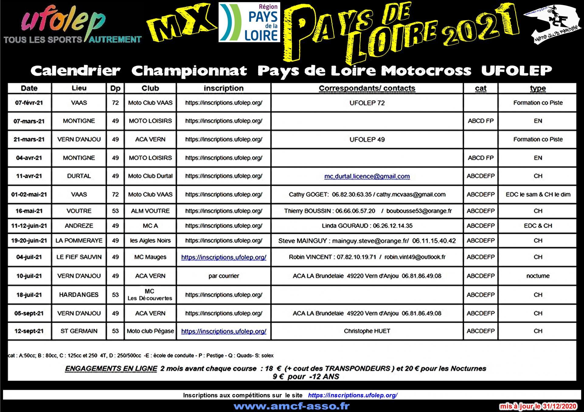 Calendrier Ufolep 2022 Calendrier Motocross Ufolep 2021 NORMANDIE,PAYS DE LOIRE,
