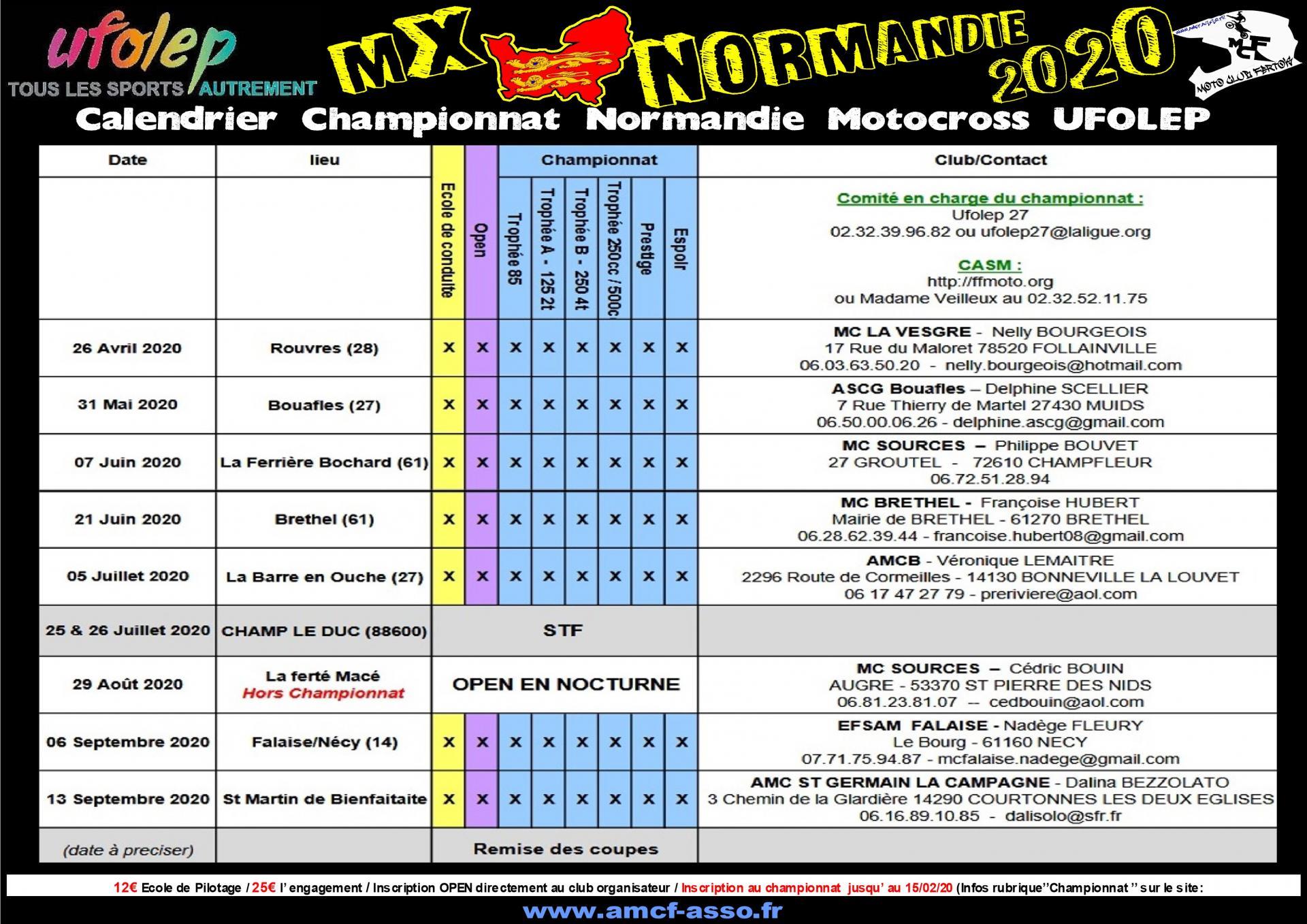 Calendrier Ufolep 2021 Calendrier Motocross Ufolep 2020 NORMANDIE,PAYS DE LOIRE,