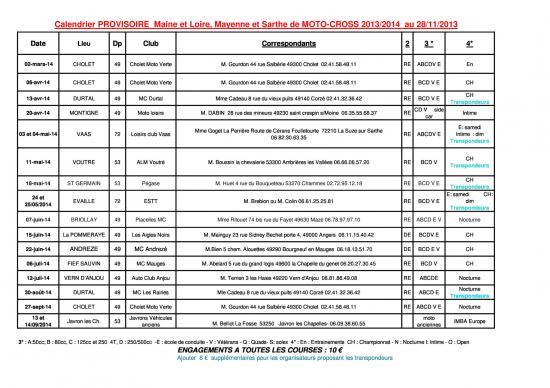 calendrier motocross ufolep normandie et pays de loire 2014
