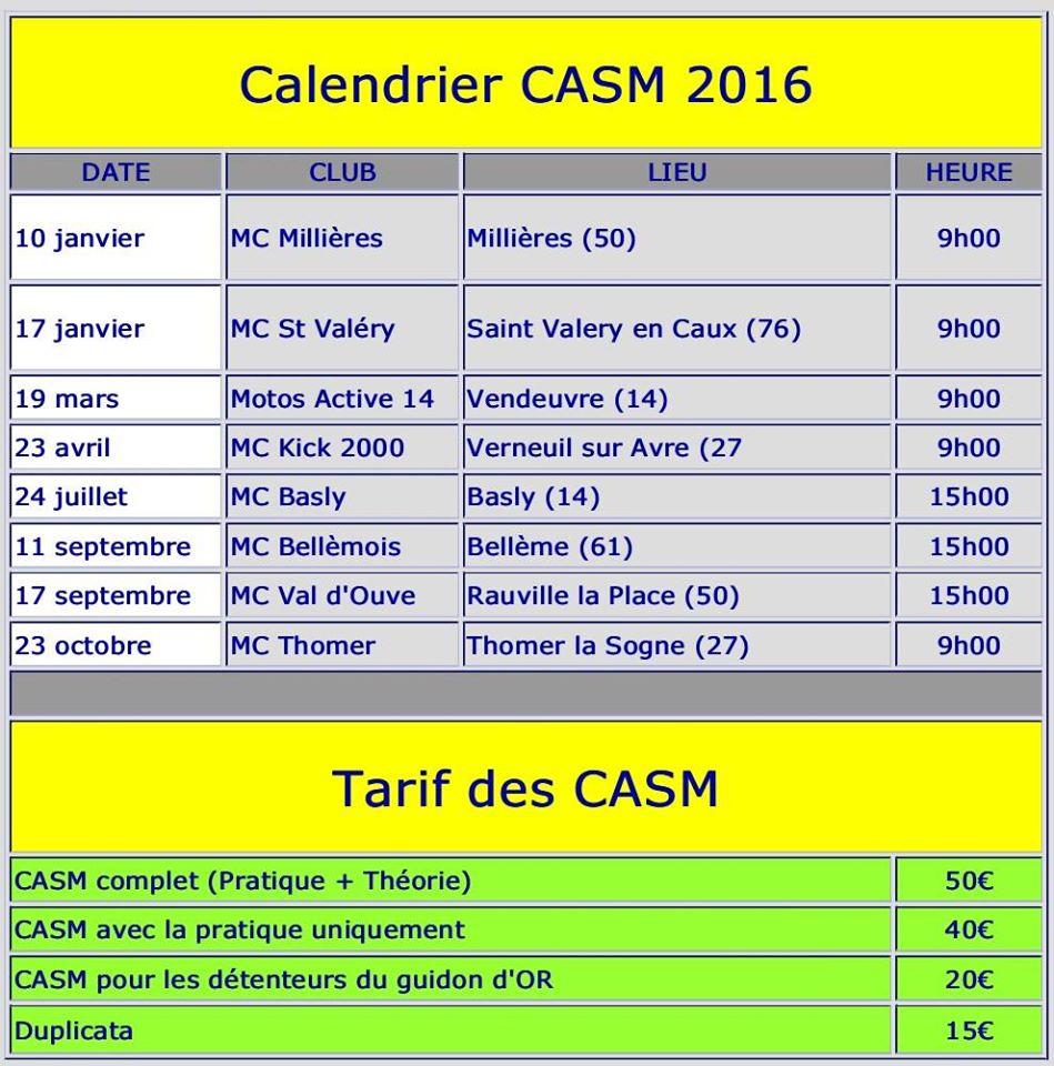 Calendrier CASM 2016 Normandie