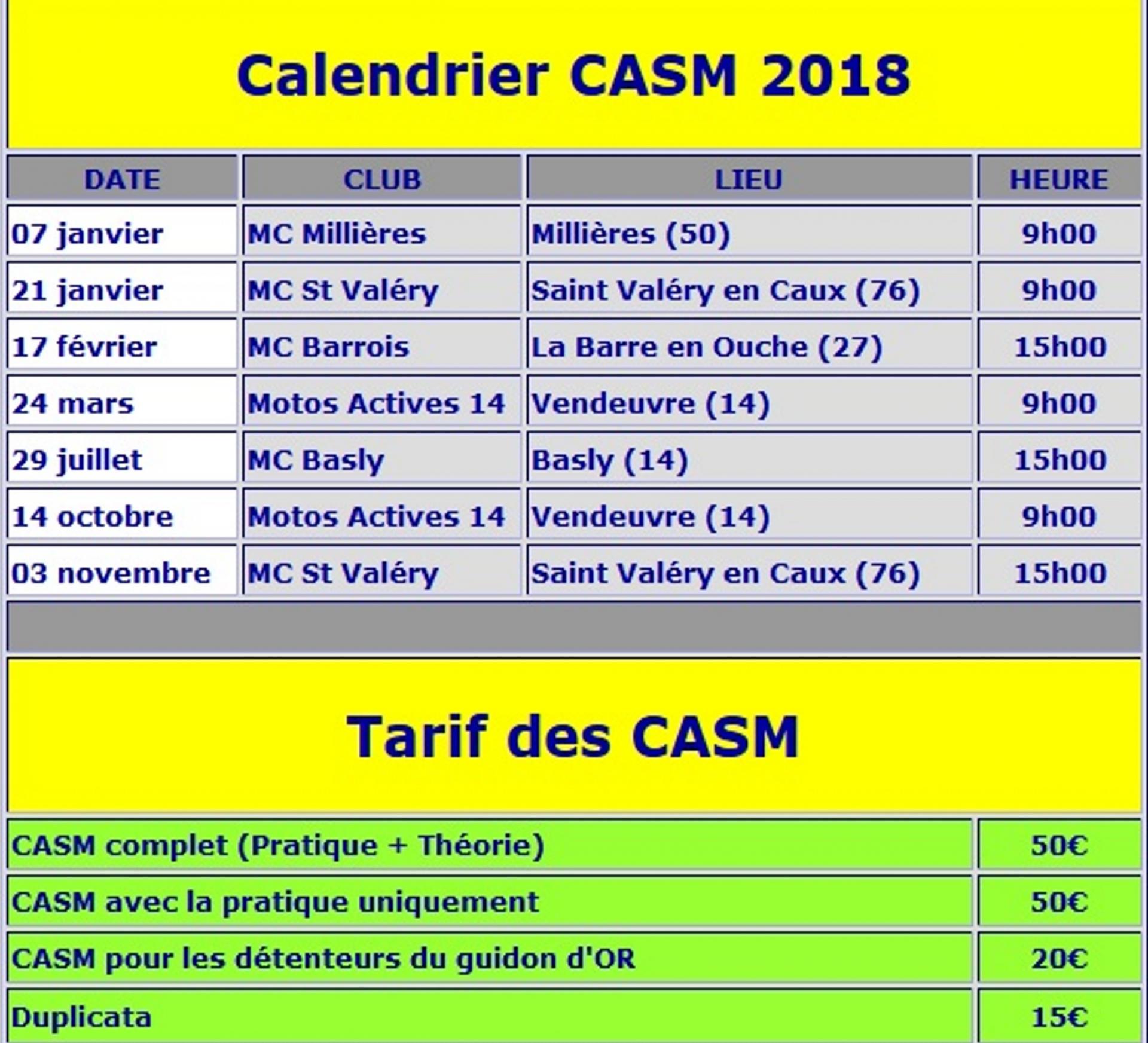 Calendrier CASM 2018 Normandie