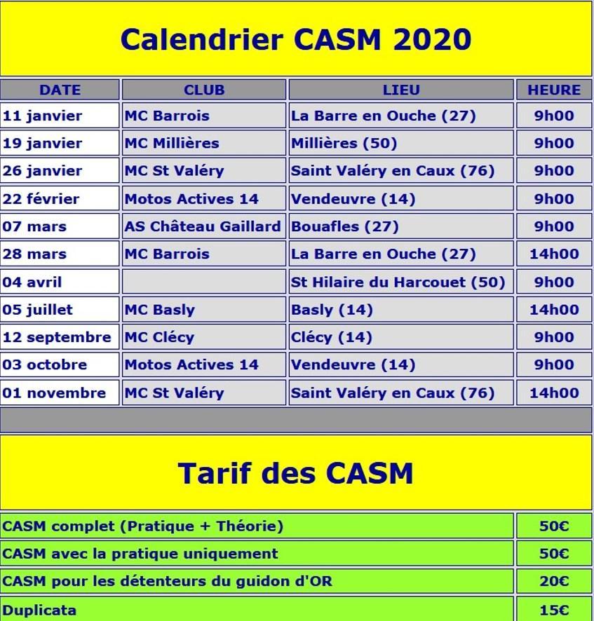 Calendrier CASM 2020 Normandie