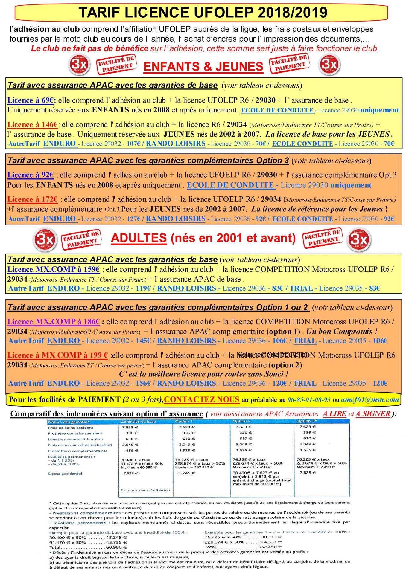 Tarif licence 2018/2019